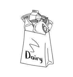 sketched dairy products gathered in paper vector image vector image