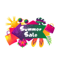 Summer sale banner with colorful elements sun vector