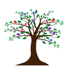 Tree with cute birds vector
