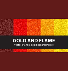 triangle pattern set gold and flame seamless vector image vector image