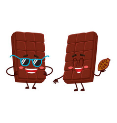 Two chocolate bar characters in sunglasses and vector