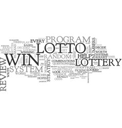 Win that lotto review good or bad text word cloud vector