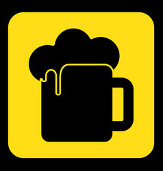 Yellow black sign - beer with foam icon vector