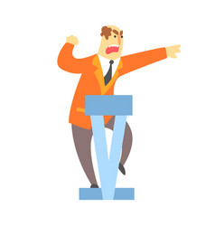 Man emotionally speaking from the rostrum vector