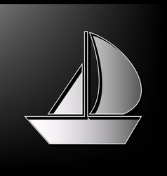 Sail boat sign gray 3d printed icon on vector
