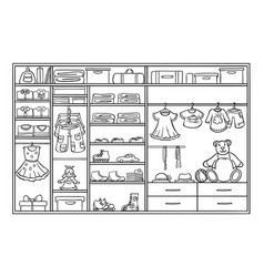 Doodle monochrome children wardrobe concept vector