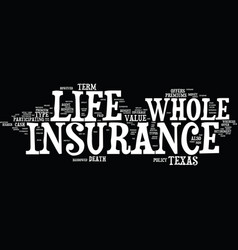 Texas whole life insurance text background word vector