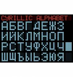 Cyrillic alphabet blue matrix indicator vector
