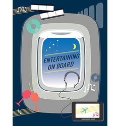 Entertainment on flight airline travel concept vector