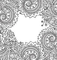 template with beautiful monochrome floral pattern vector image