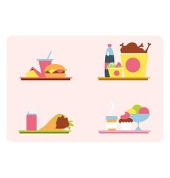 Sets with fast food on a tray vector