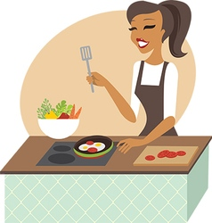 Young woman preparing meal vector image