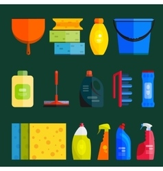 Set of cleaning tools flat design style vector