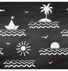 Seaside chalk drawn seamless pattern vector image