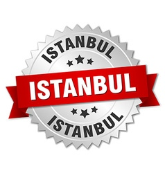 Istanbul round silver badge with red ribbon vector