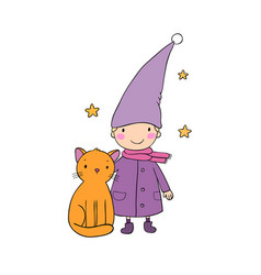 A cute little gnome a kitten and stars funny vector