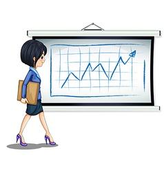 A successful businesswoman near the chart vector