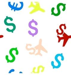 Aviation Business Flat Seamless Pattern vector image