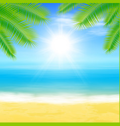 Beach and tropical sea with palmtree leaves vector