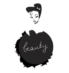 Beauty inscription on black splash and girl vector