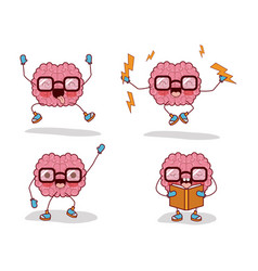 brain cartoon set with glasses and books and vector image