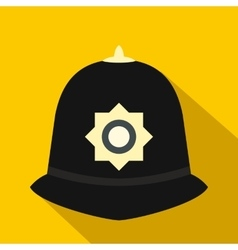 British police helmet icon flat style vector image vector image