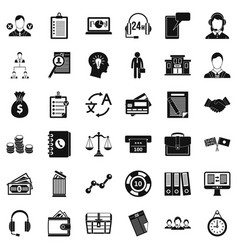 Business search icons set simple style vector