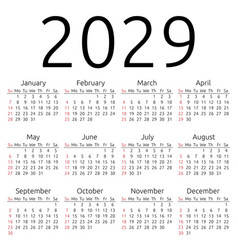 Calendar 2029 sunday vector
