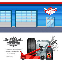 Car service 2 flat banners set vector