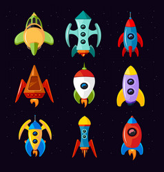 Cartoon spaceships rocket and futuristic vector