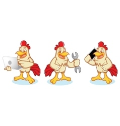 Chicken Mascot with phone vector image