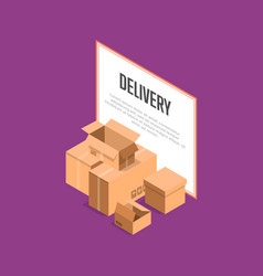 Commercial delivery service isometric banner vector