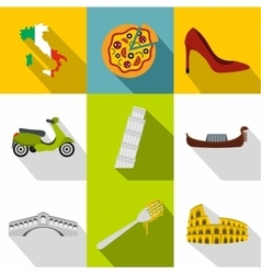 Country italy icons set flat style vector