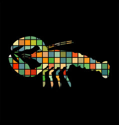 crayfish mosaic color silhouette aquatic animal vector image