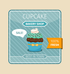 Cute card blue cupcake with chocolate vector