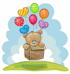 cute teddy bear with balloons vector image
