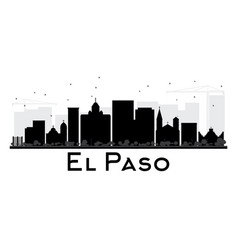 El paso city skyline black and white silhouette vector