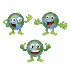 globe world cartoon character vector image vector image