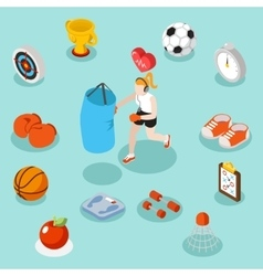 Isometric sport lifestyle and fitness flat 3d vector
