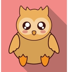Kawaii owl icon cute animal graphic vector
