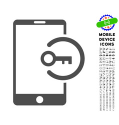 Key login smartphone icon with set vector