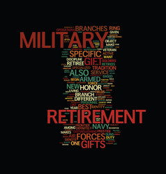 Military retirement gifts ten hut text background vector