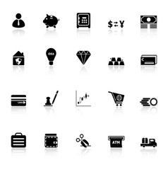 Money icons with reflect on white background vector image vector image