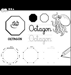 Octagon basic geometric shapes coloring page vector