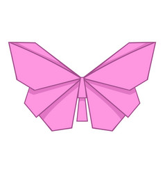 Origami pink butterfly icon cartoon style vector