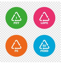 Pet ld-pe and hd-pe polyethylene terephthalate vector