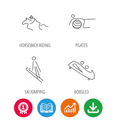Pilates bobsled and horseback riding icons vector