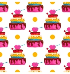 Seamless pattern with cake vector image vector image