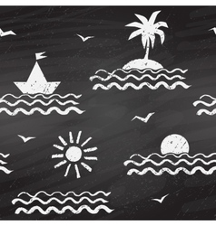 Seaside chalk drawn seamless pattern vector