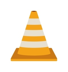 Striped traffic cone flat icon vector
